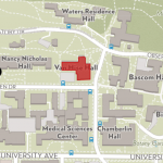 Van Hise Hall shown on the campus map at the corner of Linden Drive and Charter St