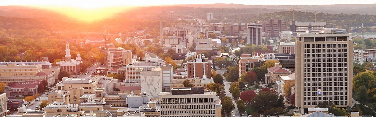 View of campus, including Van Hise Hall, at sunset